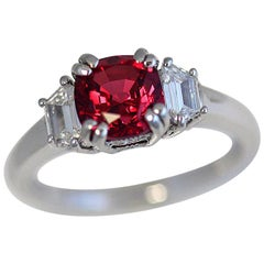 2.10 Carat Burma Cushion Natural Red Spinel and Diamond Cocktail Ring
