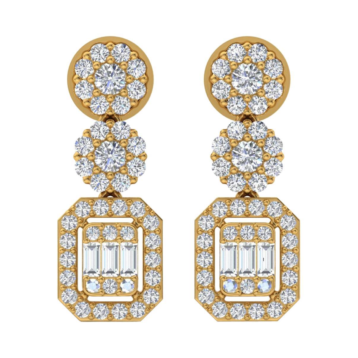 2.10 Carat Diamond 18 Karat Gold Drop Earrings