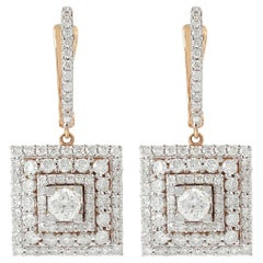 2.10 Carat Diamond 18 Karat Rose Gold Earrings