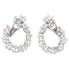2.10 Carat Diamond 18 Karat White Gold Earrings