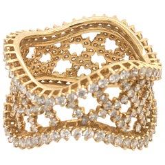 2.10 Carat Diamond Eternity Band Yellow Gold Italy with Box
