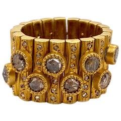 2.10 Carat Diamond Flexible Art Deco Mosaic in 20 Karat Yellow Gold Coomi Ring