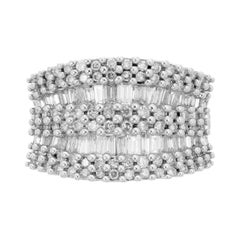 2.10 Carat Diamond Nine Row Wide Gold Band Cluster Ring