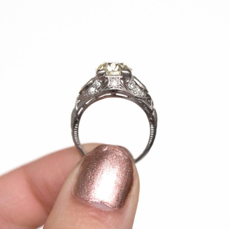 2.10 Carat Diamond Platinum Engagement Ring, 1900s Edwardian For Sale 1