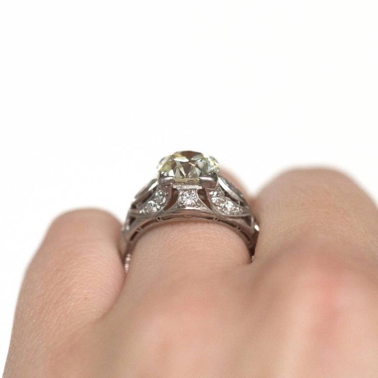 2.10 Carat Diamond Platinum Engagement Ring, 1900s Edwardian For Sale 4