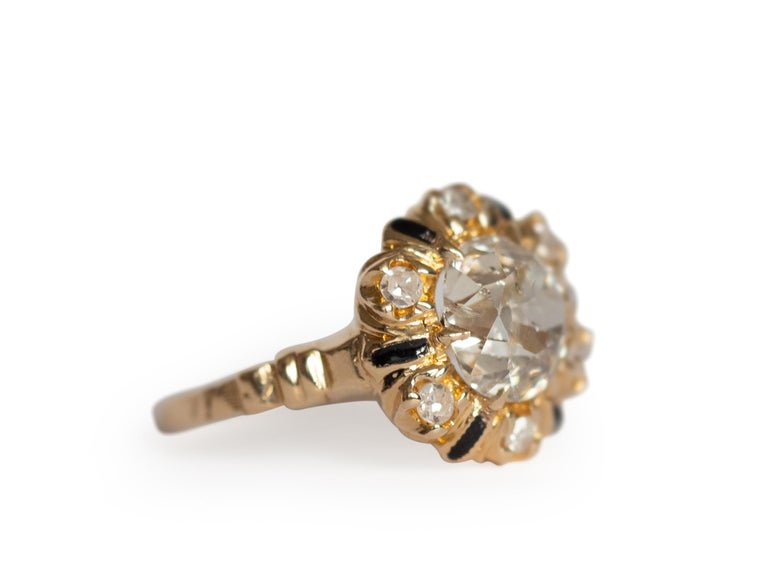 Edwardian 2.10 Carat Diamond Yellow Gold Engagement Ring-VEG#1292A For Sale