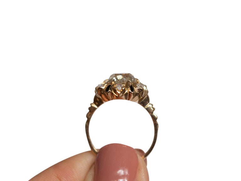 2.10 Carat Diamond Yellow Gold Engagement Ring-VEG#1292A In Good Condition For Sale In Hicksville, NY