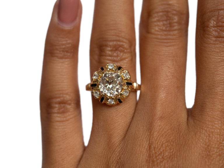 Women's or Men's 2.10 Carat Diamond Yellow Gold Engagement Ring-VEG#1292A For Sale