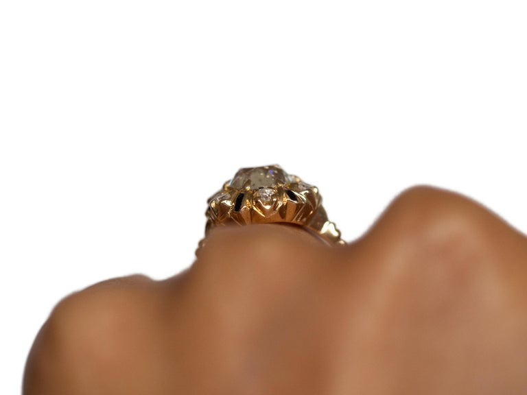 2.10 Carat Diamond Yellow Gold Engagement Ring-VEG#1292A For Sale 2