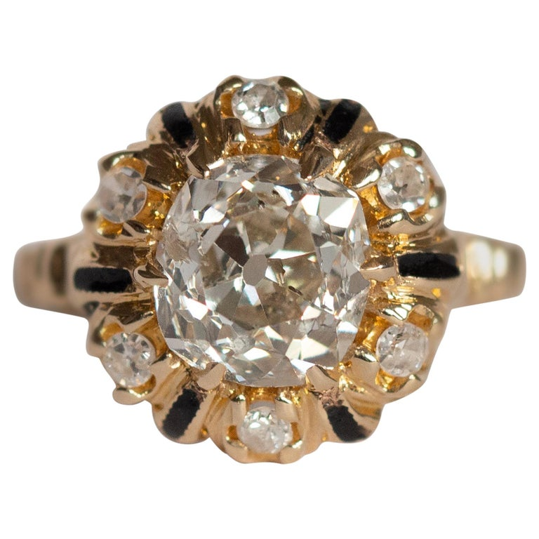 2.10 Carat Diamond Yellow Gold Engagement Ring-VEG#1292A For Sale
