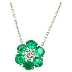 2.10 Carat Emerald and Diamond Flower Motif by the Yard Necklace 14 Karat Gold