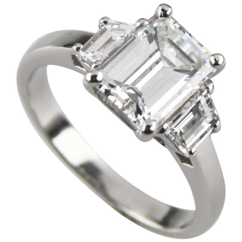 2.10 Carat Emerald Cut Diamond 3-Stone Platinum Ring with GIA Certified