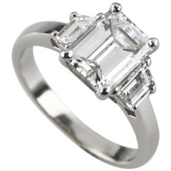 2.10 Carat Emerald Cut Diamond 3-Stone Platinum Ring with GIA Certified