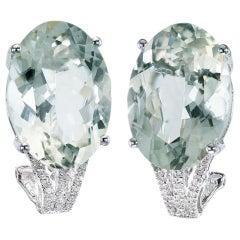 21.0 Carat Green Quartz Diamond White Gold Earrings