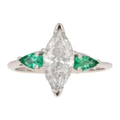 2.10 Carat Marquise Cut Diamond and Emerald Ring, 14 Karat White Gold Engagement