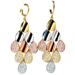 2.10 Carat Natural Diamonds Modern Dangle Domed Petal Chandelier Earrings