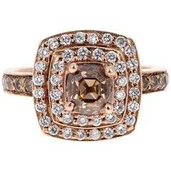 2.10 Carat Natural Fancy Brown Diamond Engagement Ring 14 Karat Rose Gold