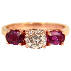 2.10 Carat Natural Fancy Oval Diamond Ruby Ring 14 Karat Rose Gold Classic Three