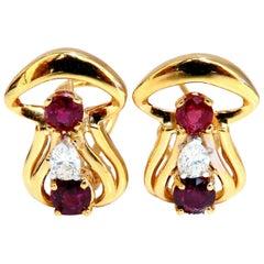2.10 Carat Natural Red Ruby Diamonds Clip Earrings 14 Karat G/Vs Mushroom