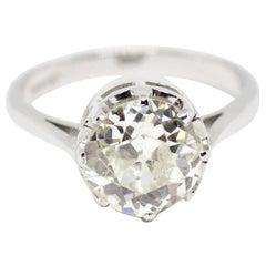 2.10 Carat Old Cut Diamond 18 Carat Gold Engagement Ring