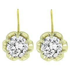 2.10 Carat Old European Diamond Gold Earrings