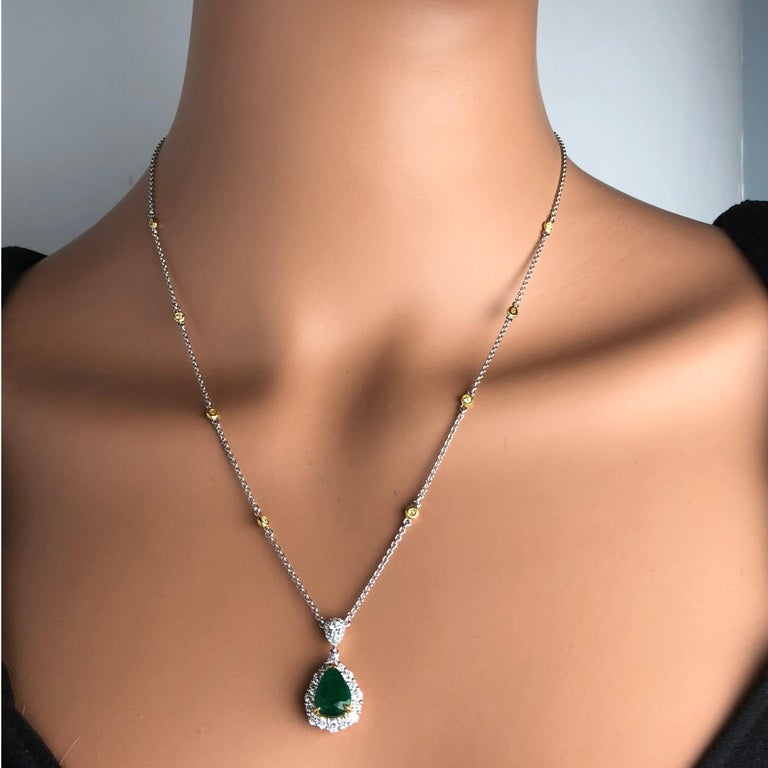 Contemporary 2.10 Carat Pear Shape Fine Emerald and Diamond Pendant in White and Yellow Gold For Sale