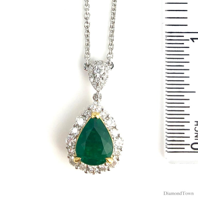 2.10 Carat Pear Shape Fine Emerald and Diamond Pendant in White and Yellow Gold In New Condition For Sale In New York, NY