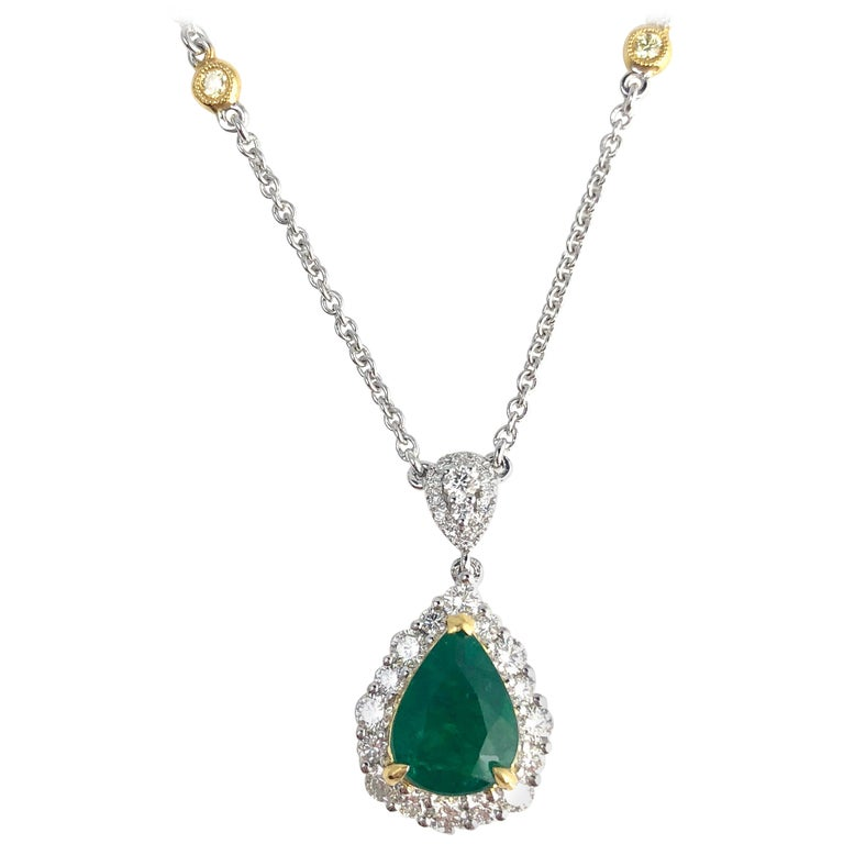 2.10 Carat Pear Shape Fine Emerald and Diamond Pendant in White and Yellow Gold For Sale