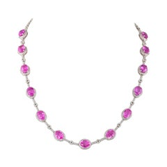 21.0 Carat Pink Sapphire Necklace in 18 Karat White Gold with Diamonds