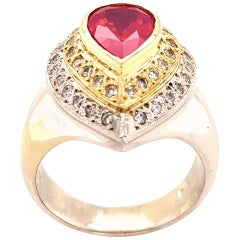 2.10 Carat Pink Velvet Spinel and Diamond Ring