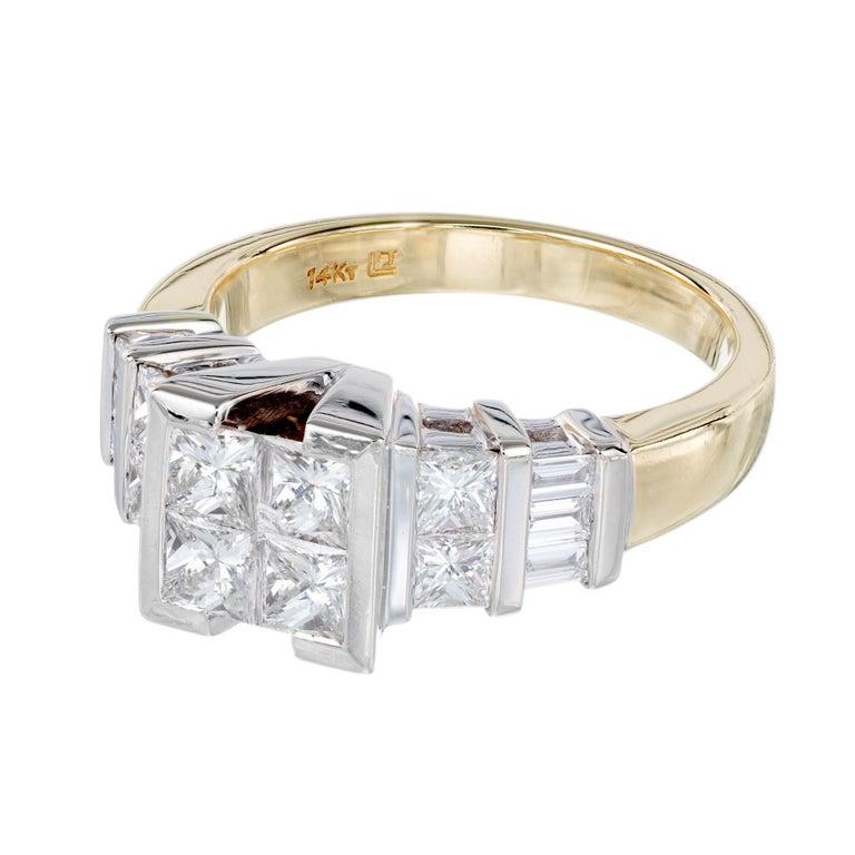 Princess Cut 2.10 Carat Princes Emerald Cut Diamond Gold Engagement Ring For Sale
