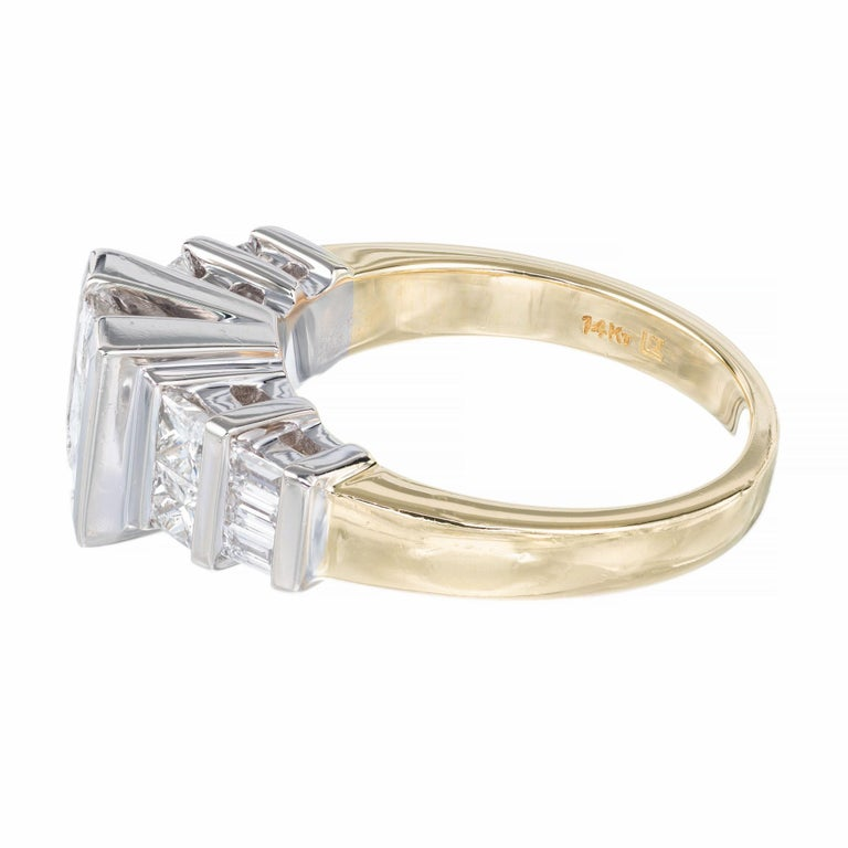 2.10 Carat Princes Emerald Cut Diamond Gold Engagement Ring In Excellent Condition For Sale In Stamford, CT