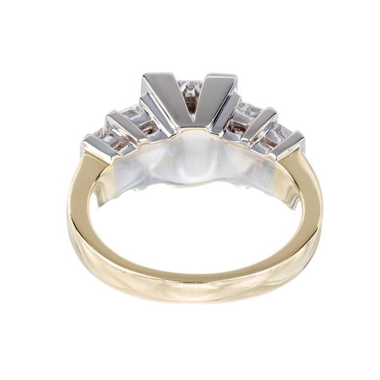 Women's 2.10 Carat Princes Emerald Cut Diamond Gold Engagement Ring For Sale