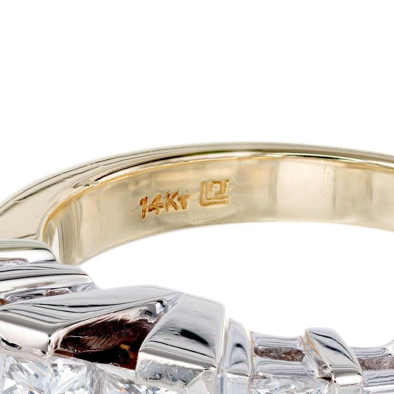 2.10 Carat Princes Emerald Cut Diamond Gold Engagement Ring For Sale 1