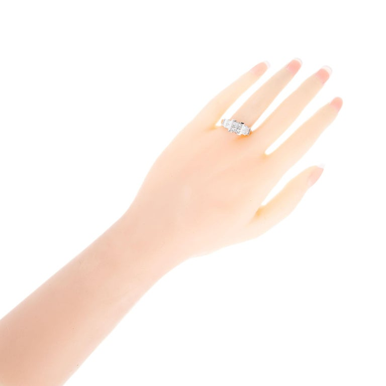 2.10 Carat Princes Emerald Cut Diamond Gold Engagement Ring For Sale 2