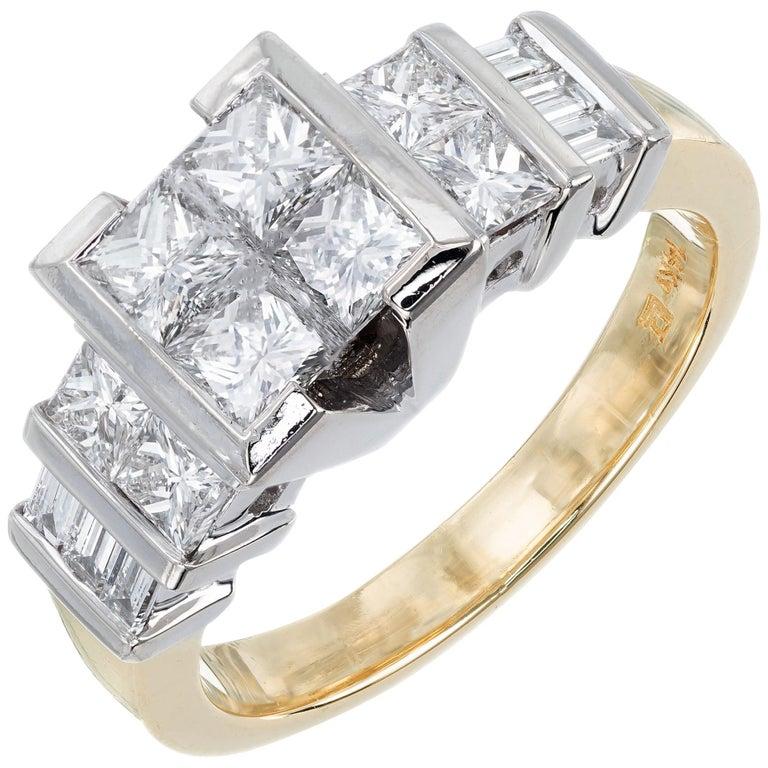 2.10 Carat Princes Emerald Cut Diamond Gold Engagement Ring For Sale