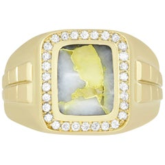 2.10 Carat Rectangle Gold in Quartz and Diamond Men's Ring