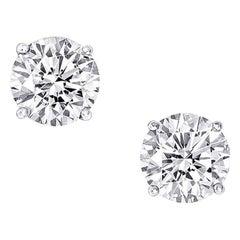 2.10 Carat Round Cut Diamond Stud Earrings