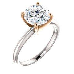 2.10 Carat Round Diamond Platinum Rose Gold Solitaire Engagement Ring GIA D-VS2