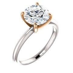 2.10 Carat Round Diamond Platinum Rose Gold Solitaire Engagement Ring GIA D-VS2