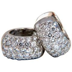 2.10 Carat Round Natural Diamond Huggie Earrings 14 Karat Bead Set