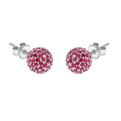 2.10 Carat Round Red Ruby Pave Set 18 KT White Gold Diamond Tresor Stud Earrings