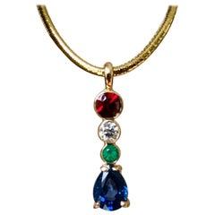 Spinel Diamond Emerald Sapphire Pendant 18 Karat