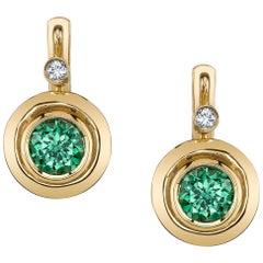 2.10 Carat Tsavorite Garnet and Diamond 18 Karat Yellow Gold Leverback Earrings