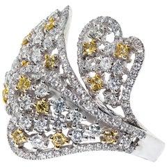 2.10 Carat Yellow White Diamond 18 Karat Gold Flower Cocktail Heart Ring