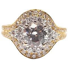 2.10 Carat Yellow White Gold Diamond Engagement Cocktail Ring