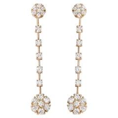 2.10 Carat Natural VS1-VS2 Diamond 14 Karat Solid Yellow Gold Earrings