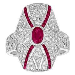 2.10 Carat Ruby Diamond Gold Ring