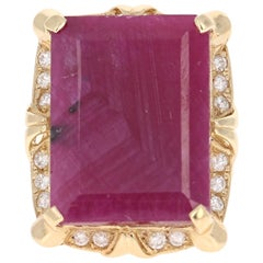 21.01 Carat Ruby Diamond Yellow Gold Ring