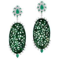 21.06 Carat Carved Jade Emerald 18 Karat Gold Diamond Earrings